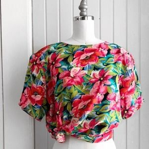 Vintage Tess Silk Colorful Floral Top Size Medium